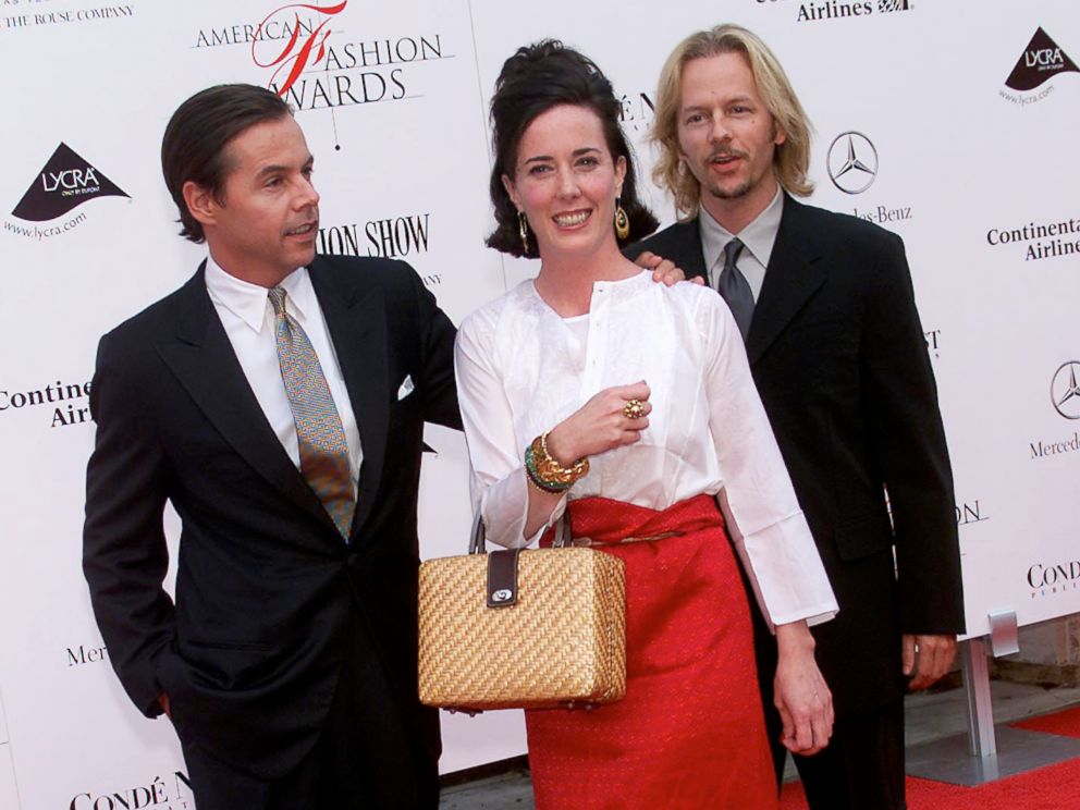 PHOTO: Kate Spade with husband Andy (L) and brother-in-law David Spade arrive at the 20th Annual American Fashion Awards at Avery Fisher Hall, Lincoln Center in New York City, June 14, 2001.