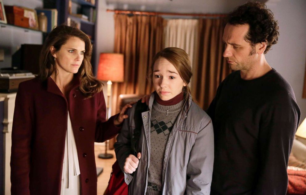 PHOTO: Keri Russell, as Elizabeth Jennings, Holly Taylor, as Paige Jennings, and Matthew Rhys as Philip Jennings, in a scene from The Americans.