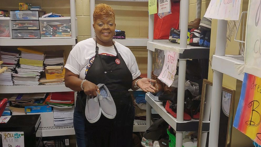 """""""Mama Collins"""" the custodian has been helping kids at her school through her """"giving closet"""". Article states that 5 to 15 kids are homeless on any given day."""