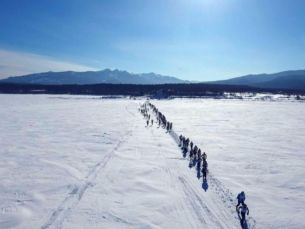 PHOTO: Runners just after the start of the Baikal Ice Marathon on Lake Baikal, the deepest lake in the world.