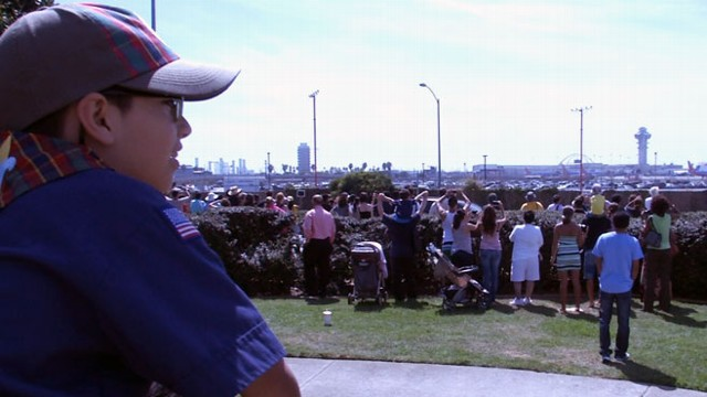 Andrew watches Endeavour shuttle land in Los Angeles.