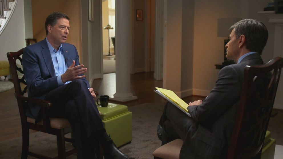 Comey tells ABC News George Stephanopoulos he hopes both the Trump and Clinton camp see a deeply flawed human surrounded by other flawed humans trying to make decisions with an eye, not on politics, but on those higher values.