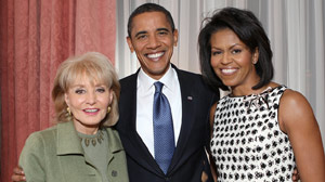 PHOTO Barbara Walters is shown with President Barack Obama and Michelle in this file photo.