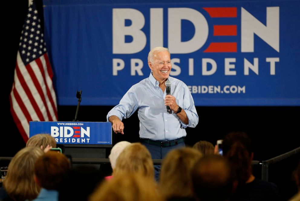 PHOTO: Democratic presidential candidate former Vice President Joe Biden speaks to local residents at Clinton Community College, June 12, 2019, in Clinton, Iowa.
