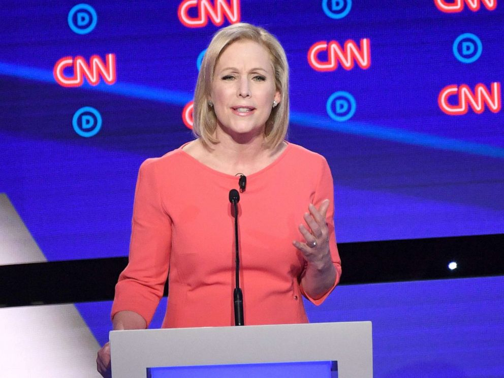 PHOTO: Democratic presidential hopeful Sen. Kirsten Gillibrand delivers her opening statement during the second round of the second Democratic primary debate in Detroit, July 31, 2019.