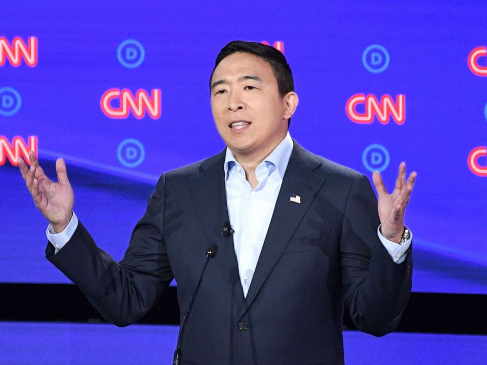 PHOTO: Democratic presidential hopeful entrepreneur Andrew Yang delivers his opening statement during the second round of the second Democratic primary debate in Detroit, July 31, 2019.