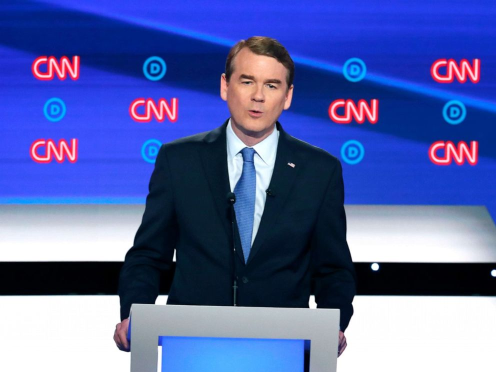 PHOTO: Sen. Michael Bennet speaks during the second of two Democratic presidential primary debates , July 31, 2019, in Detroit.