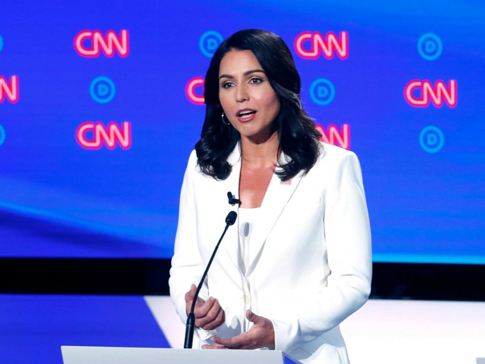 PHOTO:Rep. Tulsi Gabbard, D-Hawaii, speaks during the second of two Democratic presidential primary debates, July 31, 2019, in Detroit.