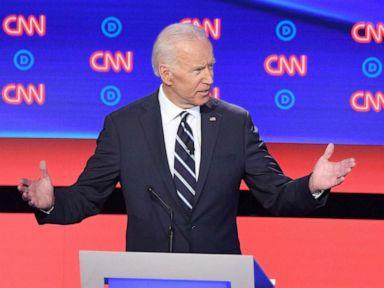 PHOTO: Democratic presidential hopefuls former Vice President Joe Biden and Sen. Kamala Harris speak during the second round of the second Democratic primary debate in Detroit, July 31, 2019.