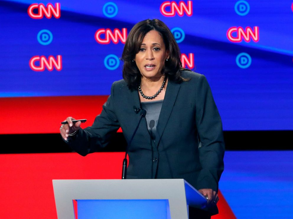 PHOTO: Sen. Kamala Harris, D-Calif., participates in the second of two Democratic presidential primary debate, July 31, 2019, in Detroit.