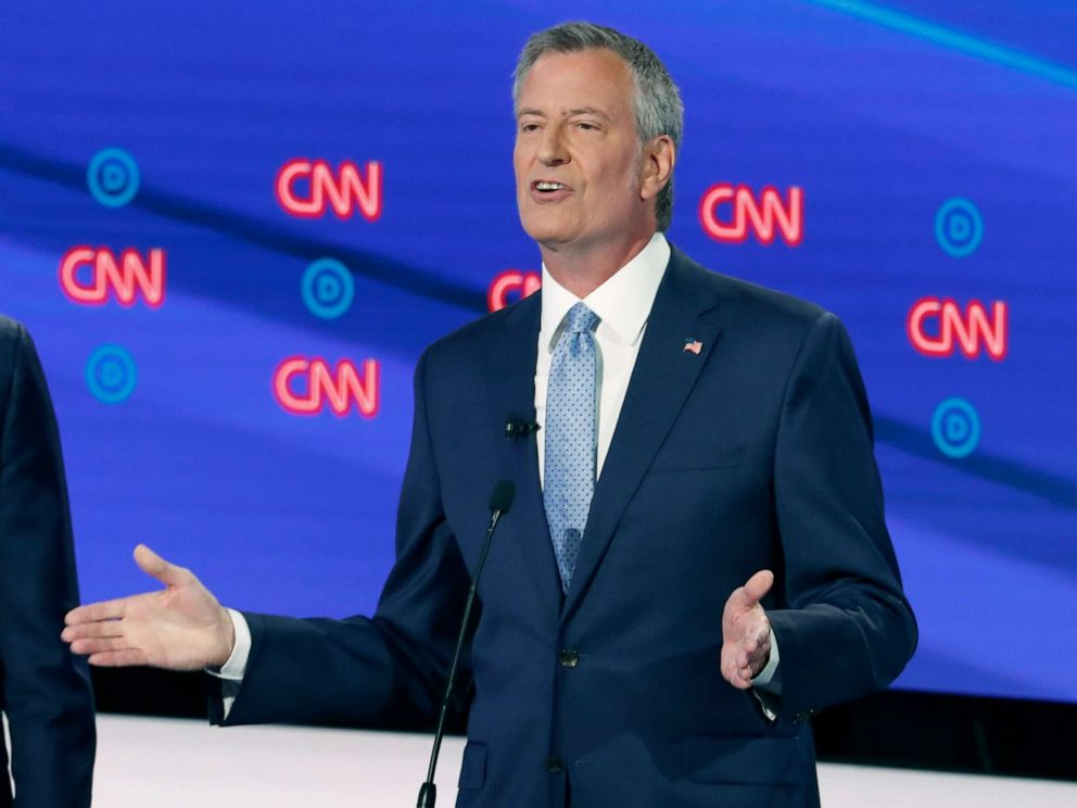 PHOTO: New York City Mayor Bill de Blasio participates in the second of two Democratic presidential primary debates, July 31, 2019, in Detroit.
