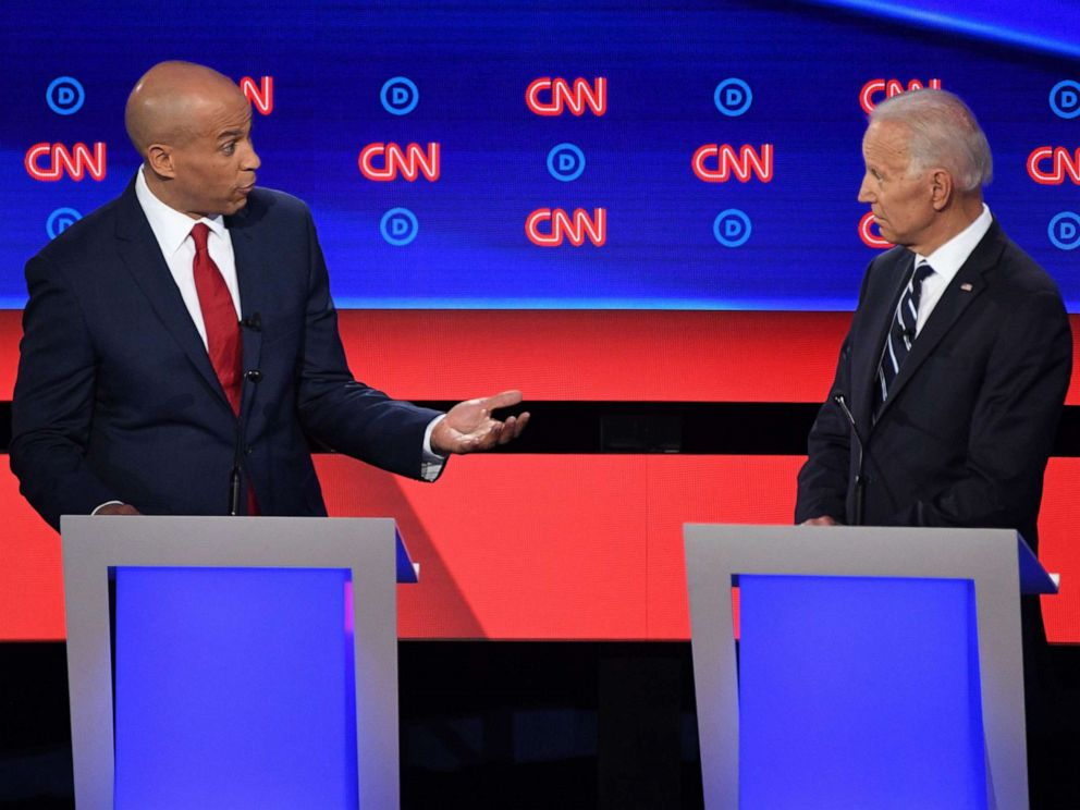 PHOTO: Sen. Cory Booker and former Vice President speak during the second round of the second Democratic primary debate in Detroit, July 31, 2019.