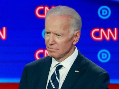 PHOTO: Sen. Cory Booker speaks as former Vice President Joe Biden gestures on the second night of the second 2020 Democratic presidential debate in Detroit, July 31, 2019.