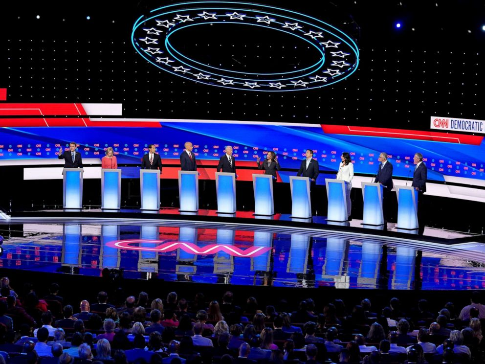 PHOTO: Democratic presidential candidates at the Democratic Presidential Debate, July 31, 2019, in Detroit.