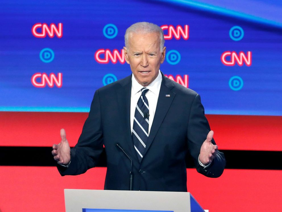 PHOTO: Former Vice President Joe Biden speaks during the second of two Democratic presidential primary debates, July 31, 2019, in Detroit.