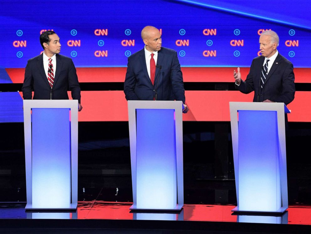 PHOTO: Democratic presidential hopefuls Sen. Kirsten Gillibrand, former Secretary of Housing and Urban Development Julian Castro, Sen. Cory Booker and former Vice President Joe Biden speak during the second primary debate in Detroit, July 31, 2019.