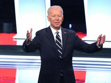PHOTO: Democratic presidential hopeful former Vice President Joe Biden gestures after the second round of the second Democratic primary debate of the 2020 presidential campaign in Detroit, July 31, 2019.