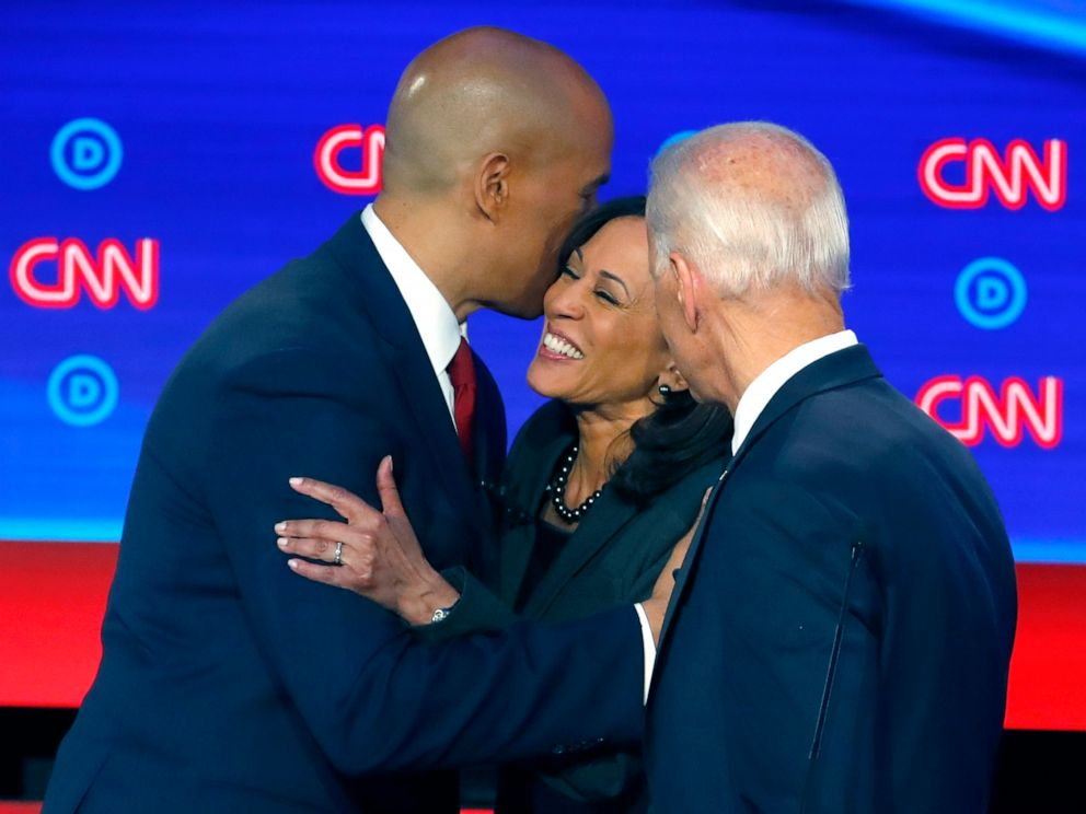 PHOTO: Sen. Cory Booker, former Vice President Joe Biden and Sen. Kamala Harris, D-Calif., talk after the second of two Democratic presidential primary debates, July 31, 2019, in Detroit.