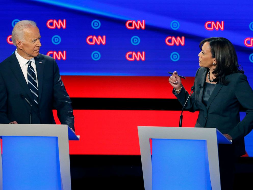 PHOTO: Former Vice President Joe Biden listens as Sen. Kamala Harris, D-Calif., speaks during the second of two Democratic presidential primary debates, July 31, 2019, in Detroit.