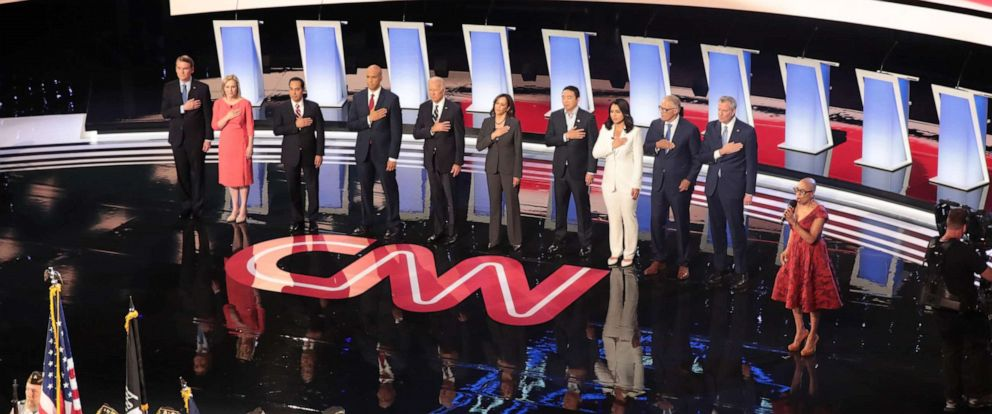 PHOTO: Democratic presidential candidates take the stage at the Democratic Presidential Debate, July 31, 2019, in Detroit.