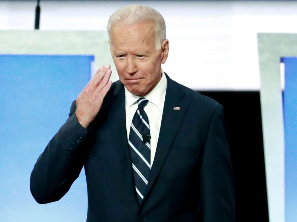 PHOTO: Candidate former Vice President Joe Biden before the start of the second night of the second 2020 Democratic presidential debate in Detroit, July 31, 2019.