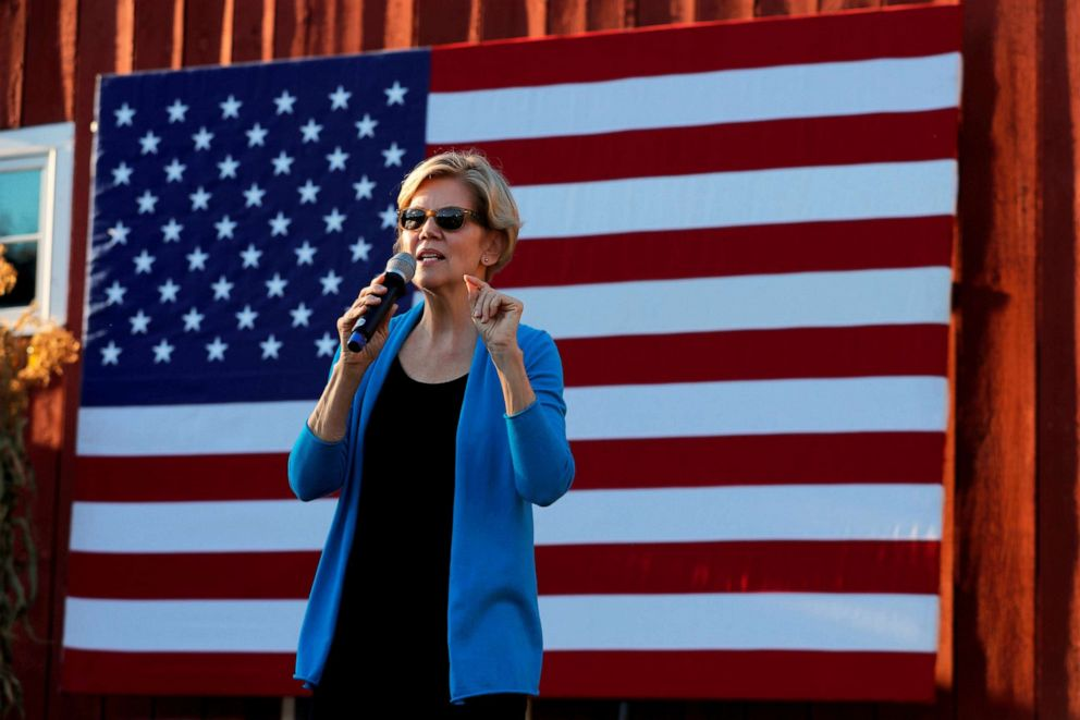 PHOTO: Democratic 2020 U.S. presidential candidate and Sen. Elizabeth Warren speaks at a campaign stop in Hollis, New Hampshire, Sept. 27, 2019.