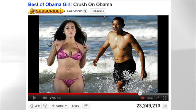 """PHOTO:The 2008 Presidential election saw its fair share of satire, but nothing was quite like the video of """"Obama Girl"""" Amber Lee Ettinger professing her crush for then, Sen. Barack Obama in nothing but her teeny bikini."""