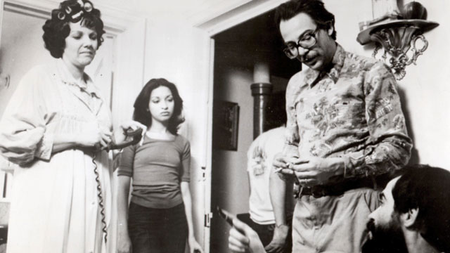 "A picture from the set of the 1979 Cuban classic ""El Super"", directed by Leon Ichaso and Orlando Jimenez-Leal. From left to right, Zully Montero, Elizabeth Peña,Raymundo Hidalgo Gato and Leon Ichaso."