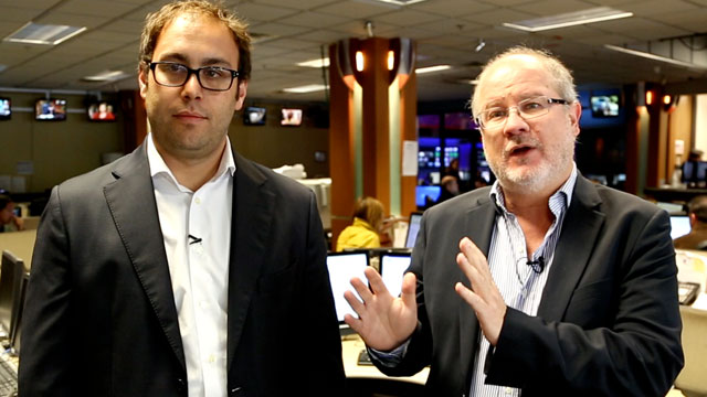 Gerardo Reyes, right, and Tomas Ocaña, left, of Univision Investiga, recently received a Peabody Award for the units investigation on the Fast and Furious gun-walking scandal.