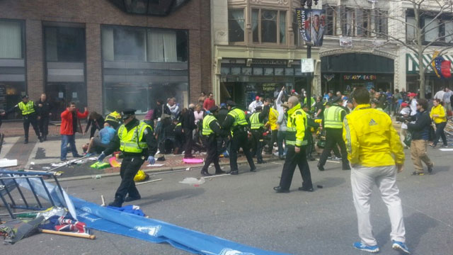 Steve Silva, Boston.com producer, was recording at the marathons finish line when the first and second explosions went off. He captured the first images that were widely spread on social media.