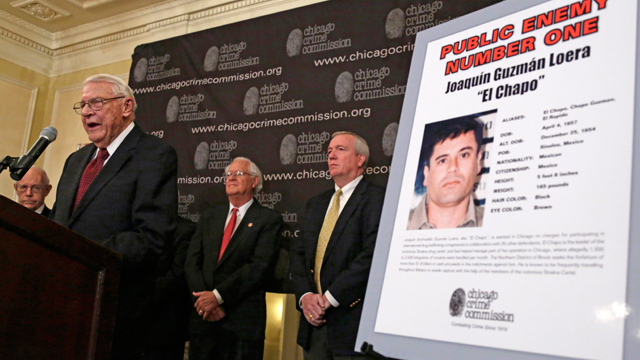 """PHOTO:Art Bilek, Executive Vice President of the Chicago Crime Commission, left, announces that Joaquin """"El Chapo Guzman, a drug kingpin in Mexico, is Chicagos Public Enemy No. 1. during a news conference Thursday, Feb. 14 in Chicago."""