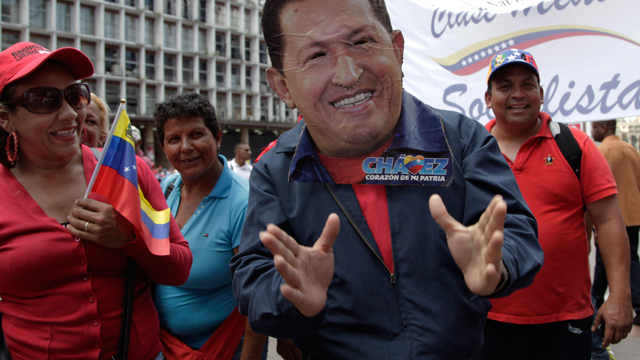 "PHOTO: A man wearing a handcrafted mask depicting the face of Venezuelas President Hugo Chavez attends an event commemorating the violent street protests of 1989 known as the ""Caracazo,"" in Caracas, Venezuela, Wednesday, Feb. 27, 2013."