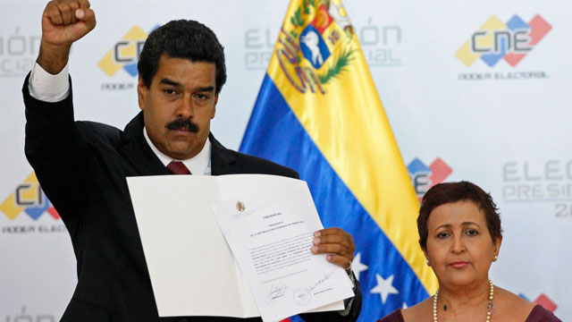 PHOTO: Nicolas Maduro was proclaimed winner of Venezuelas election by officials from the National Electoral Council (CNE) on Monday.