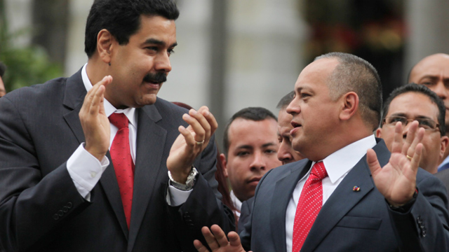 PHOTO:The recently re-elected National Assembly President Diosdado Cabello, right, speaks with Vice-President Nicolas Maduro. Both men could be successors to President Hugo Chavez, if he fails to recover from cancer surgery in Cuba.