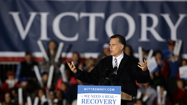 PHOTO:Republican presidential candidate, former Massachusetts Gov. Mitt Romney speaks during a campaign event at Ida Lee Park Wednesday, Oct. 17, 2012, in Leesburg, Va.