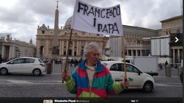 PHOTO:A man holds a sign in the Vatican on March 11th. Two days later the name of the new Pope was revealed and this man was right!