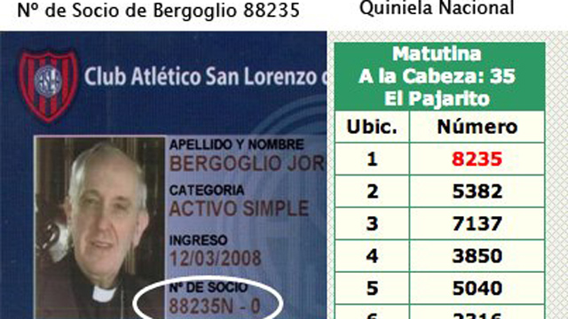 PHOTO:The winning number of Quiniela Argentina on March 13th is the same number as Bergoglio's soccer team card member number.