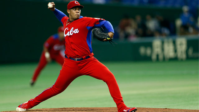 PHOTO: Vladimir Garcia pitches against the Netherlands during the second round of the 2013 World Baseball Classic at the Tokyo Dome on March 11, 2013 in Tokyo, Japan.