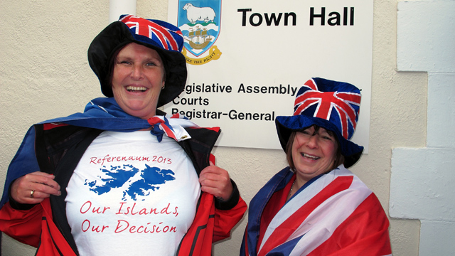 PHOTO: A woman shows her T-shirt in Stanley, Falkland Islands during a referendum intended to show the world that the residents want to stay British amid increasingly bellicose claims by Argentina.