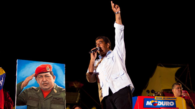 PHOTO: Nicolas Maduro won a special election to replace Venezuelas deceased president Hugo Chavez. Maduro was Chavezs handpicked heir. He relied heavily on the socialist leaders image throughout his presidential campaign.