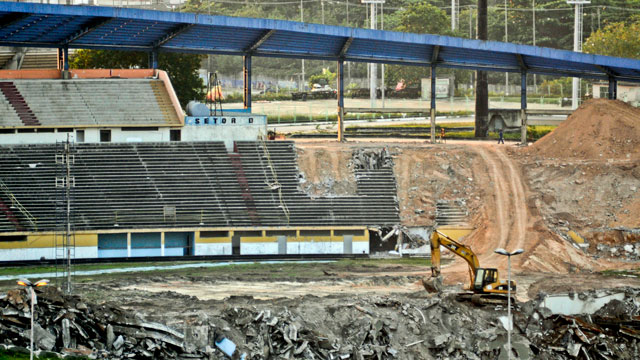 PHOTO:Manaus old stadium the Vivaldao, was demolished in 2010 to make way for a brand new World Cup stadium, called the Arena Amazonia. The new stadium is one of five World Cup venues in Brazil where construction work is behind schedule.