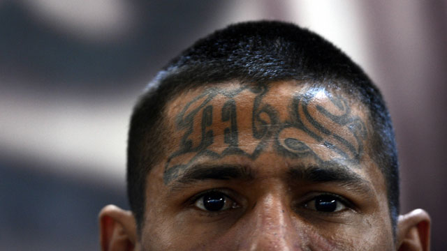PHOTO:A member of the Mara Salvatrucha (MS13), is pictured on Monday, March 4, 2013, in the Criminal Center of Ciudad Barrios, San Miguel, 160 km east of San Salvador.