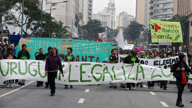PHOTO:A march for marijuana legalization in Montevideo, Uruguay