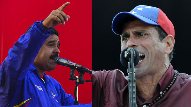 PHOTO:Nicolas Maduro (left) faced Henrique Capriles (right) in a special election in which Venezuelans picked a successor for the deceased president Hugo Chavez.
