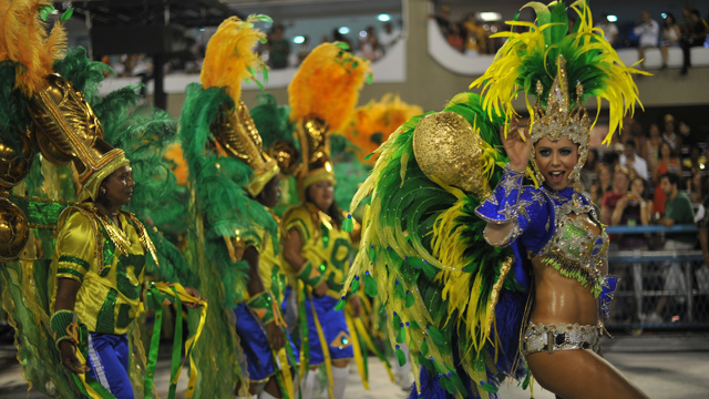 PHOTO:Revellers of Grande Rio samba school perform during the second night of carnival parade at the Sambadrome in Rio de Janeiro