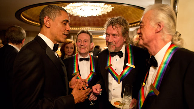 PHOTO: In this handout from the White House, U.S. President Obama talks with the surviving members of Led Zeppelin John Paul Jones, Robert Plant and Jimmy Page during intermission at the Kennedy Center Honors