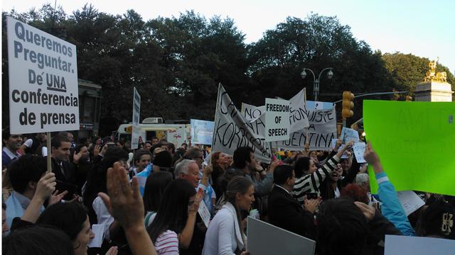 PHOTO:Signs at the protest against Cristina Fernandez de Kirchner.