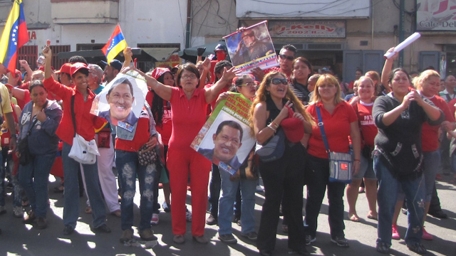 PHOTO: After news of Hugo Chavez´s return to Venezuela broke out, some of his supporters gathered in front of the Carlos Arvelo Military Hospital in Caracas. Chavez will continue treatment in a secluded area of the hospital.