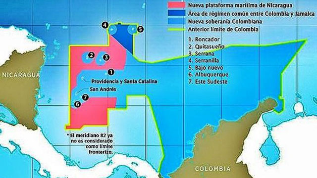 PHOTO: A ruling from the International Court of Justice in The Hague, granted Nicaragua the areas in pink, while Colombia retained sovereignty over the island of San Andres and a maritime corridor that connects it with mainland Colombia.