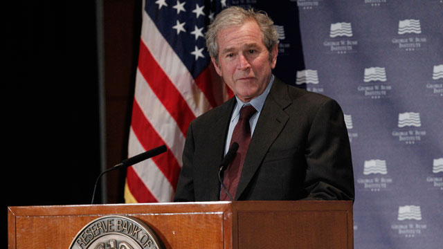 """PHOTO:Former President George W. Bush gives opening remarks at the Federal Reserve Bank of Dallas for a conference titled """"Immigration and 4% Growth: How Immigrants grow the U.S. Economy,"""" Tuesday, Dec. 4, 2012, in Dallas, Texas."""